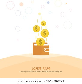 Make money wallet. Dollar falling in wallet. Online earn money every time. Save income in your wallet.