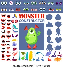 Make a monster icons set, with alient eyes, mouths, ears and horns, wings and hand body parts. Constructor of monsters. Vector illustration