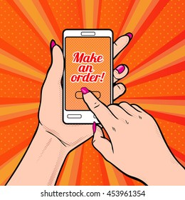 Make an order! Vector illustration with young woman's hand holding smartphone. Online shopping
