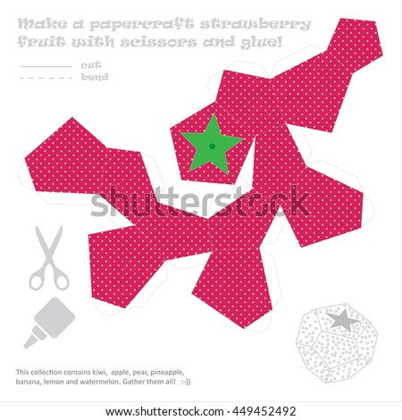 Make Paper Craft Set Fruits Scissors Stock Vector Royalty Free