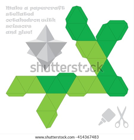 Make Paper Craft Stellated Octahedron Scissors Stock Vector Royalty