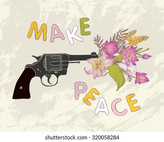 Make peace. Bouquet of flowers in the gun muzzle