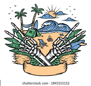 Make peace on the beach illustration