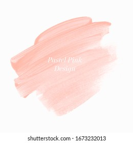 Make up peach paint stroke abstract shape background design vector. Pastel creative artwork.