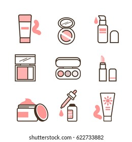 Make up routine icons set in line style. Vector illustration.