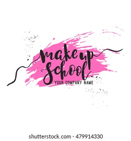Make up school logo idea with modern calligraphy and grunge background.