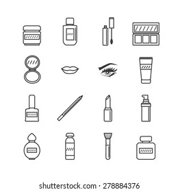 Make up set.Vector collection of line icons for beauty design.
