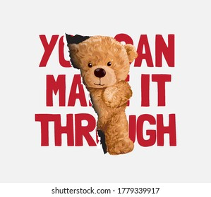 make it through slogan with bear doll slipping through paper hole illustration