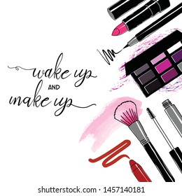 make up and wekeup, make up brush lettering on pink art with cosmetics collection, vector