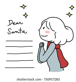 Make a wish concept with cute woman sending her wishes to Santa Claus. Blank lines for writing on included. Vector illustration with hand-drawn style.