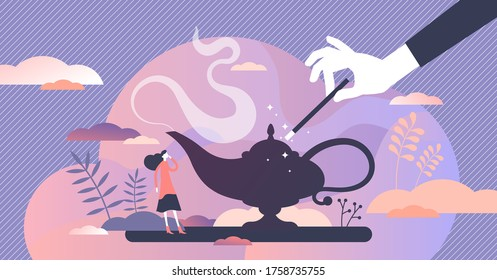 Make a wish to dream come true vector illustration in flat tiny persons concept. Symbolic visualization to get desired goal with magic wound or jinn lamp rubbing. Abstract hope imagination scene.