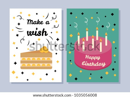 Make A Wish And Happy Birthday Two Bright Banners Cake With Many Flaming