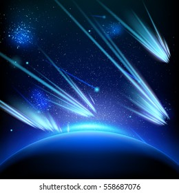Make a wish on this shooting stars going across a starry sky. EPS 10 vector file included
