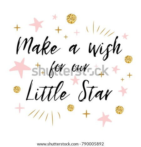 Make Wish Our Little Star Text Stock Vector Royalty Free 790005892