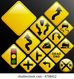 Make your own glossy glassy web 2.0 warning danger road signs or use design elements/icons from the included vectors (left turn; slippery; dead end; intersection; curvy road; light ahead; truck; car)