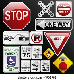 Make your own glossy glassy web 2.0 warning / danger road signs in vector form (no park; one way; rail road; stop; weight limit; buckle up; no enter; yield, stop ahead...) Part 2.