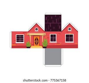 Make your own toy house paper craft vector assembly model