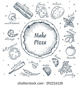 make your pizza set of pizza ingredients hand drawn icons. Vector isolated on white background.