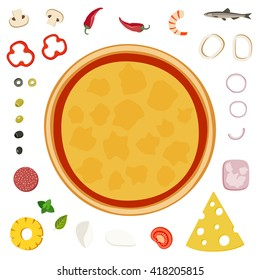 Make your pizza. Set of pizzas ingredients on white background.