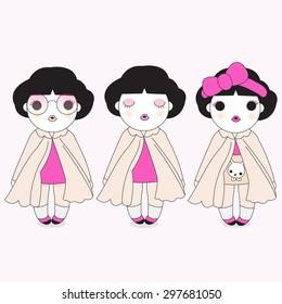 Makeover And Dress Up Girls illustration