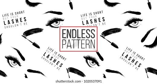Makeup artist background. Vector seamless pattern with mascara wand, life is short but your lashes shouldn't be text, woman open and close eyes. Hand drawn fashion illustration in watercolor style.