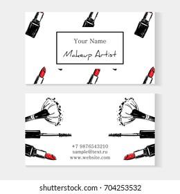 Makeup artist banner. Business card concept. Beauty Set for make-up: lipstick, mascara, makeup brush, Logo vector template illustration
