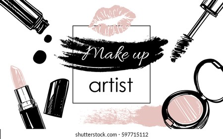 Makeup artist banner. Vector template.business concept