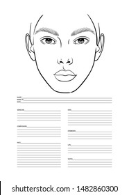 Makeup Artist Blank Template. Face chart template for professional makeup artist. Product list. Vector illustration
