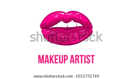Makeup artist business card business cards stock vector royalty makeup artist business card business cards template with pink open lips print elegant fashion fbccfo Gallery