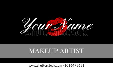 Makeup artist business card business cards stock vector royalty makeup artist business card business cards template with red trace kiss lips print elegant flashek Image collections