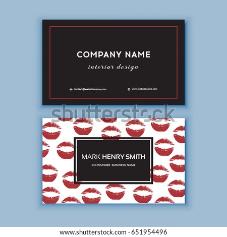 Makeup artist business card business cards stock vector royalty makeup artist business card business cards template with red lips print design templates for wajeb Gallery