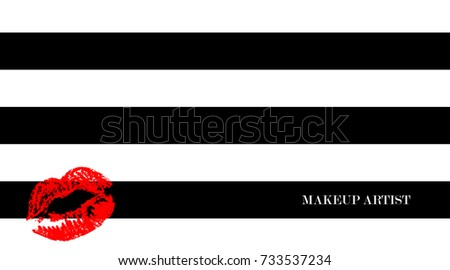 Makeup artist business card business cards stock vector royalty makeup artist business card business cards template with red kissing shaped lips on a black colourmoves
