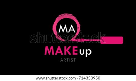 Makeup artist business card logo template stock vector royalty free makeup artist business card logo template pink mascara brush and textured circle stroke of mascara flashek Image collections