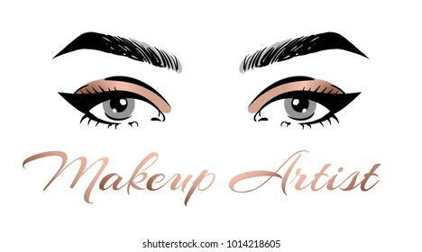 Makeup artist business card template. Vector hand drawn illustration of colorful women eyes with bronze metallic make-up. Concept for beauty salon, cosmetics label, visage and makeup.
