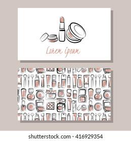 Makeup artist business card. Vector template with makeup items pattern - brush, powder,