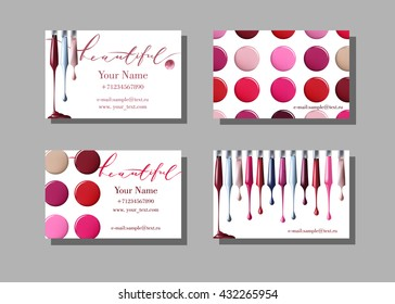 Makeup artist business card. Vector template with makeup items pattern   nail Polish. Fashion and beauty background. Template Vector.