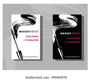 Makeup artist business card. Vector template with makeup items pattern -  mascara. Fashion and beauty background. Template Vector.