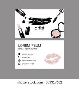 Makeup artist  business card. Vector template.