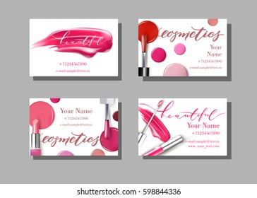 Makeup artist business card. Vector template with makeup items pattern - lipstick. Fashion and beauty background. Template Vector.