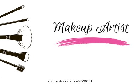 Makeup artist business card. Vector template with makeup items brushes makeup and pink Smear a
