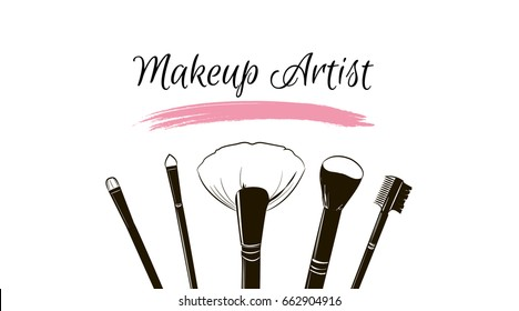Makeup artist business card. Vector template with makeup items brushes makeup and pink Smear a brush grunge