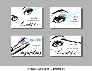 Makeup artist business card. Vector template with makeup items pattern -with beautiful female eyes and mascara. Fashion and beauty background. Template Vector.