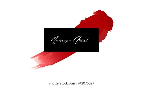 Makeup artist business card. Vector template makeup stroke and Smear Red lipstick. Hand drawn