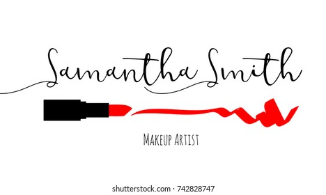 Makeup artist business card. Vector template with makeup items pattern - Smears Red lipstick. Fashion silhouette makeup lipstick. Hand drawn graphic color glossy lips. Glamour fashion card vogue style