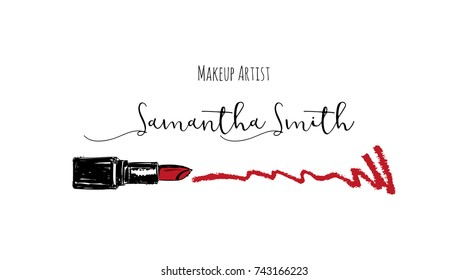 Makeup artist business card. Vector template with makeup items pattern - Smears Red lipstick. Fashion sketch makeup lipstick. Hand drawn graphic color glossy lips. Glamour fashion card vogue style