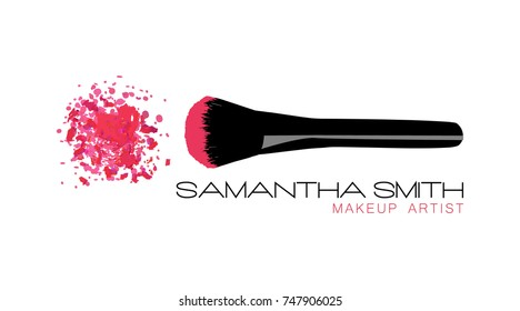 Makeup artist business card. Vector template with pink crumbled face cosmetic powder blusher with black makeup brush. Beauty Logo Design Template