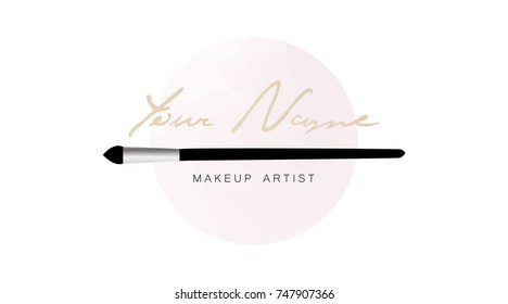 Makeup Artist Business Card Vector Logo Template With Brush Applicator On The Background Of