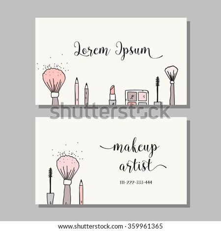 Makeup Artist Business Card Vector Template Stock Vektorgrafik
