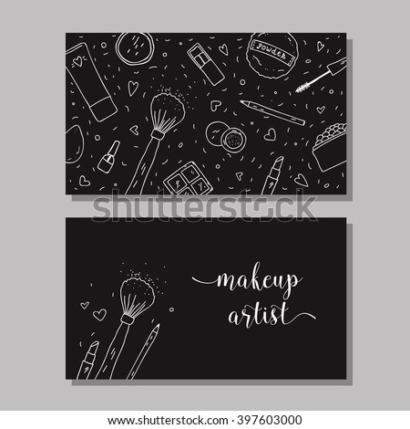 Makeup artist business card vector template stock vector royalty makeup artist business card vector template with makeup items pattern brush powder fbccfo Image collections