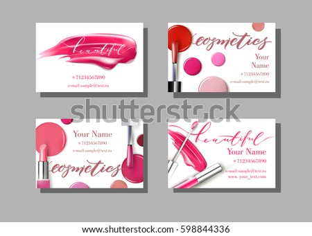 Makeup artist business card vector template stock vector royalty makeup artist business card vector template with makeup items pattern lipstick fashion and cheaphphosting Gallery